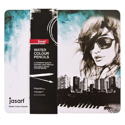 Jasart Water Colour Pencil Tin 24 Pack