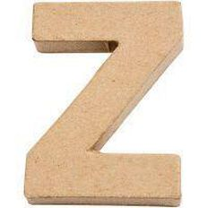 Paper Mache Alphabet Small Symbol Z 10cm Brown