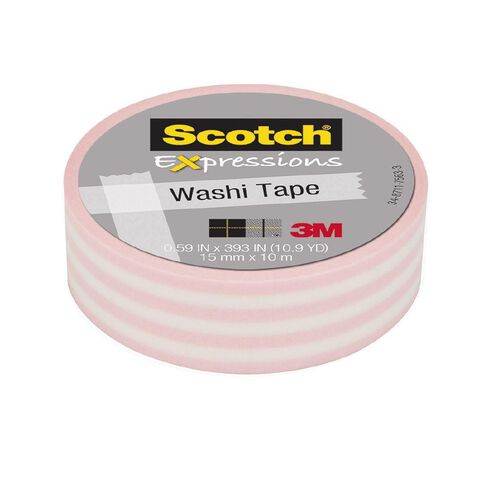 Scotch Washi Craft Tape 15mm x 10m Pastel Stripe Pink