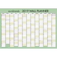 Eurobrands Wall Planner 2019 Laminated 700mm x 990mm Large