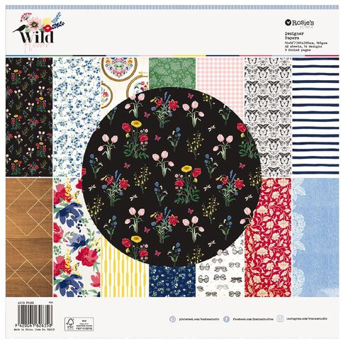 Rosie's Studio Wildflower Paper Pad 12 x 12 42 Sheet