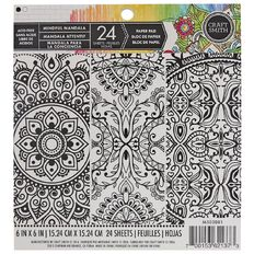 Craft Smith Colouring Mind Mandala Pad 6in x 6in 24 Sheet White