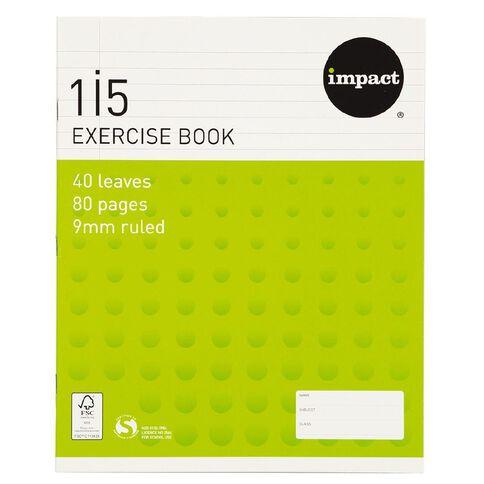 Impact Exercise Book 1I5 9mm Ruled 40 Leaf Green