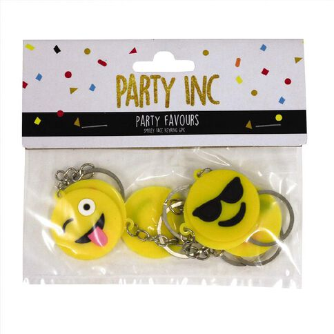 Party Inc Party Favours Smiley Face Keyrings 6 Pack