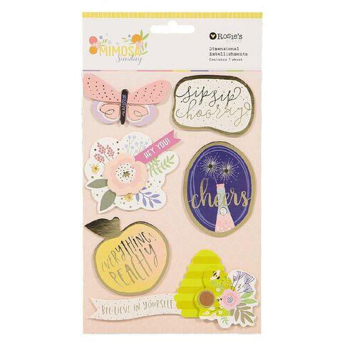 Rosie's Studio Mimosa Sunday Cardstock Dimensional Embellishments