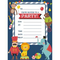 Artwrap Circus Animals Padded Invitations 145mm x 195mm 20 Pack
