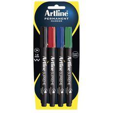 Artline Supreme Permanent Marker 4 Pack Multi-Coloured