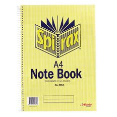 Spirax Notebook Spiral No.595A 240 Page 7mm Ruled Yellow A4