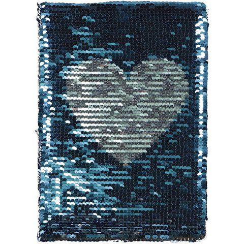 Kookie Heart Sequin Notebook Blue A5
