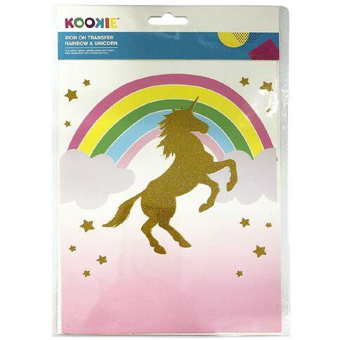 Kookie Iron on Transfer Rainbow & Unicorn
