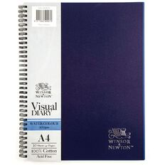 Winsor & Newton Watercolour Visual Diary Spiral 200gsm A4 20 Sheets Blue