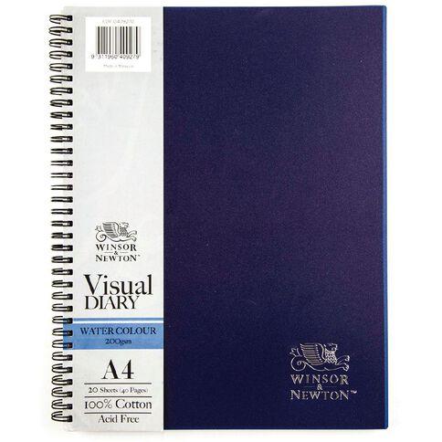 Winsor & Newton Watercolour Visual Diary Spiral 200gsm A4 20 Sheets Blue