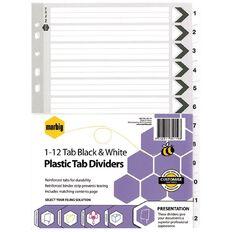Marbig Dividers Plastic B & W 1-12 Tab A4