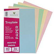 Trophee Paper 80gsm 30 Pack Pastels Assorted A4