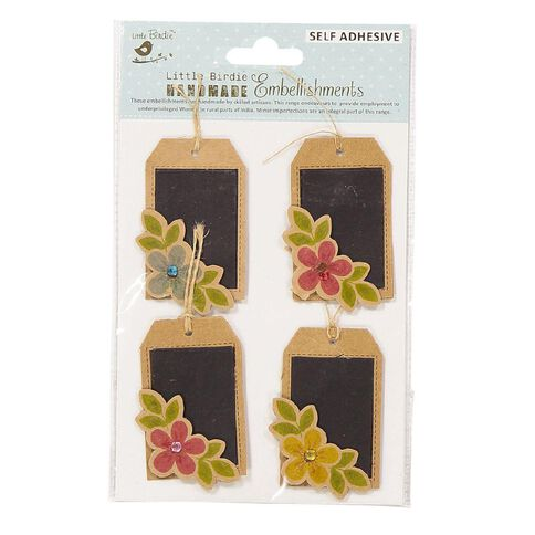 Little Birdie Chalk Tags With Printed Embellishment 4 Piece
