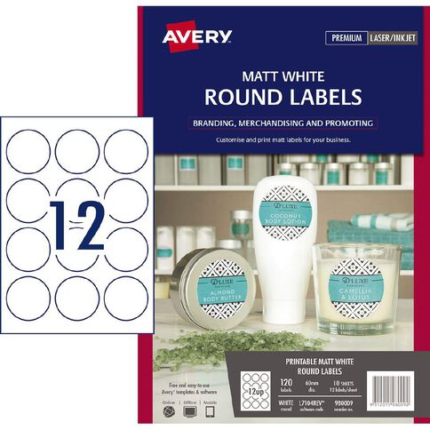 Avery Removable Round Labels White 60mm Diameter 120