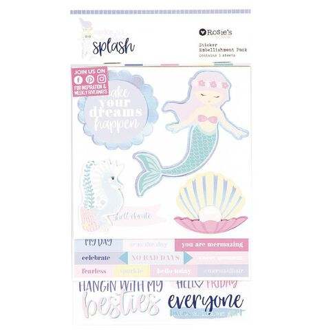 Rosie's Studio Make a Splash Layered Sticker Pack 3 Sheets