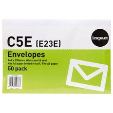 Impact Envelope E23/C5 Peel & Seal 50 Pack White