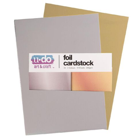 U-Do Value Cardstock Foil 250gsm 12 Sheets Silver Gold A4