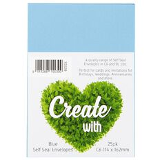 Create With C6 Envelopes 25 Pack Blue