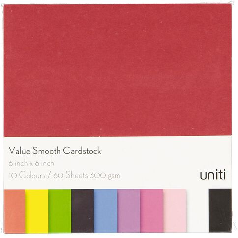 U-Do Value Cardstock Smooth 220gsm Brights 60 Sheets 6in x 6in