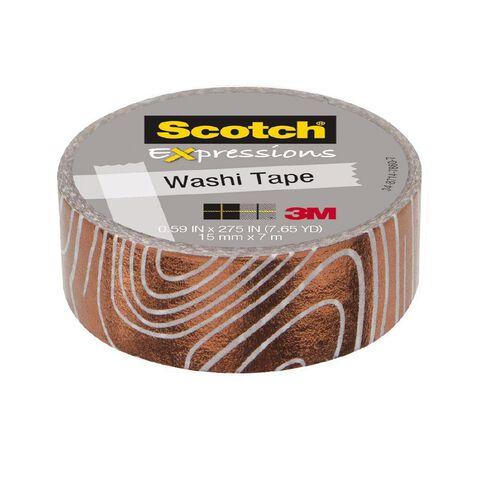 Scotch Washi Tape 15mm x 7m Foil Swirl White/Copper