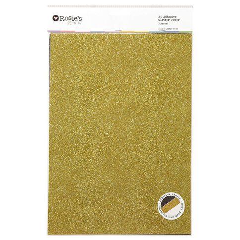 Rosie's Studio Adhesive Glitter Paper White Black Gold A4 3 Pack