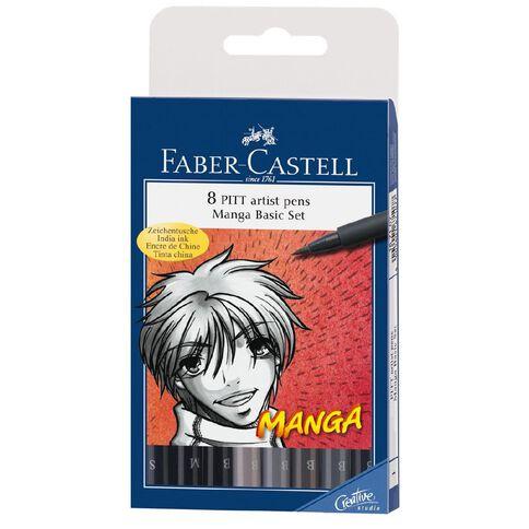 Faber-Castell Manga 8 Pitt Artist Pens Multi-Coloured