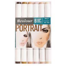 #colour Double Ended Markers Set 6 Portrait Multi-Coloured