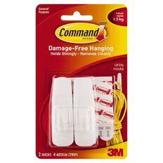 Command Hooks 2 Pack White Medium