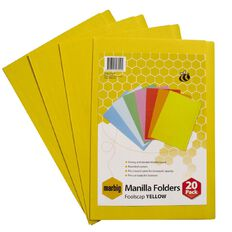 Marbig Manilla Folders Foolscap 20 Pack Yellow