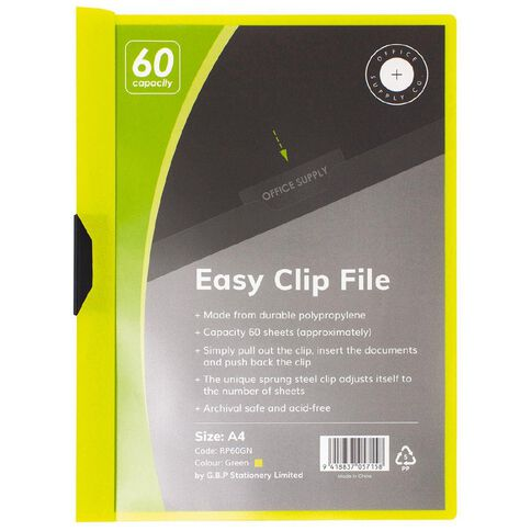 Office Supply Co Easy Clip File 60 Capacity Green A4