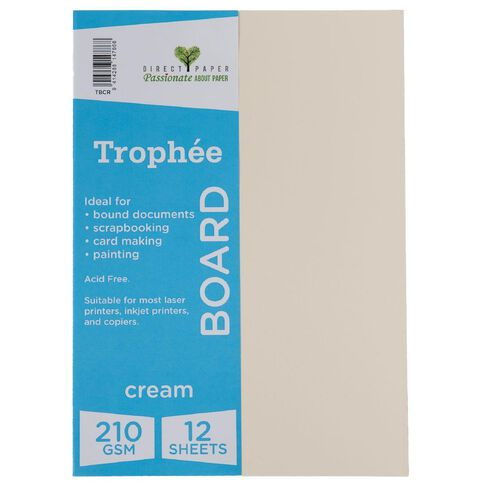 Trophee Board 210gsm 12 Pack Cream A4