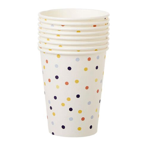 Party Inc Confetti Paper Cups 250ml 8 Pack