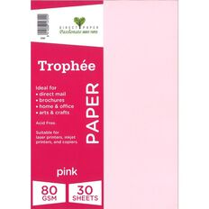 Trophee Paper 80gsm 30 Pack Pink A4