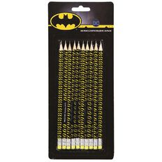 Batman DC Comics HB Pencil with Eraser Set 10 Pack