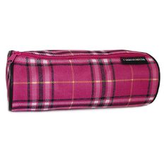Pencil Case Crosshatch Check Pink