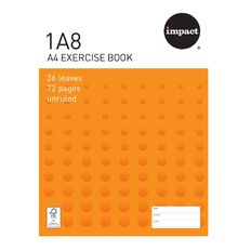Impact Exercise Book 1A8 Blank 36 Leaf Unruled 297 x 210mm Orange A4