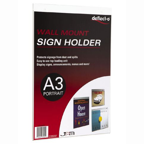 Deflecto Sign/Menu Holder Wall Mounting Portrait Clear A3