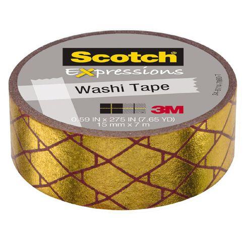 Scotch Washi Tape 15mm x 7m Foil Diamond Magenta/Gold