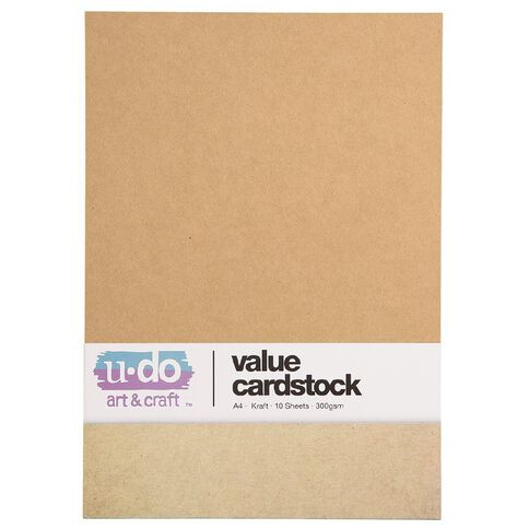 U-Do Value Cardstock 300gsm 10 Pack Kraft A4