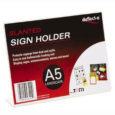 Deflecto Sign/Menu Holder Slanted Landscape Clear A5