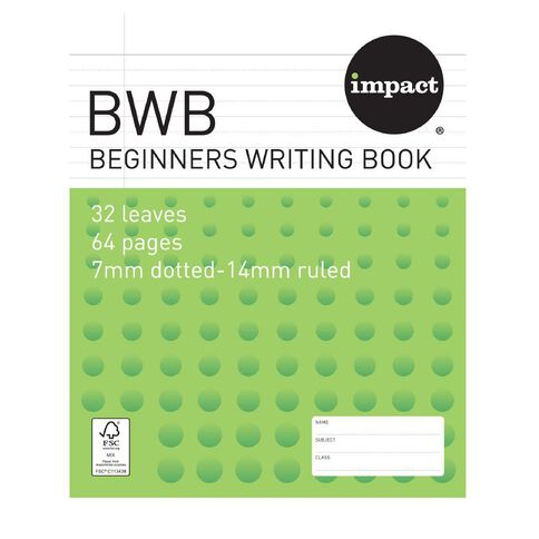 Impact Exercise Beginners Writing Book (BWB) 14mm Ruled 32 Leaf Green