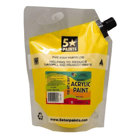 Fivestar Acrylic Paint Cool Yellow 1.5 litre Pouch