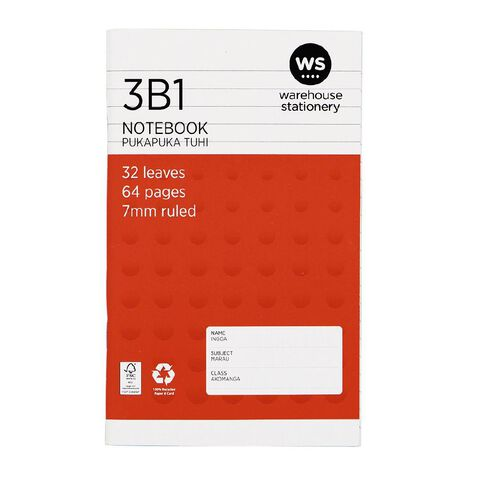 WS Notebook 3B1 7mm Ruled 32 Leaf Red
