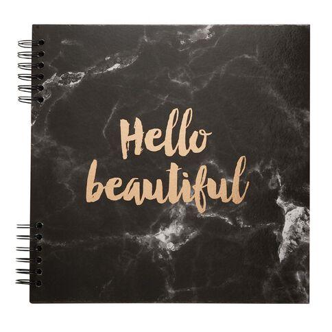 Rosie's Studio Album Black Rose Gold Script Hello Beautiful 12 x 12