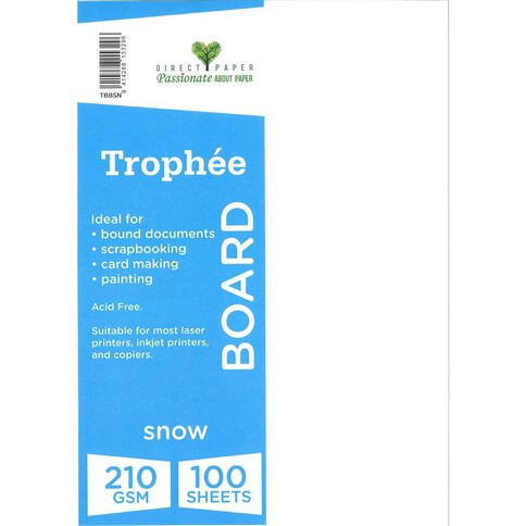 Trophee Board 210gsm 100 Pack Snow White A4