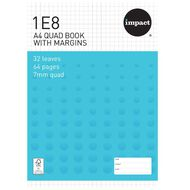 WS Exercise Book 1E8 7mm Quad 32 Leaf Plus Margin