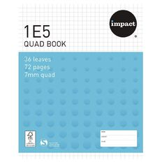 Impact Exercise Book 1E5 7mm Quad 36 Leaf Blue