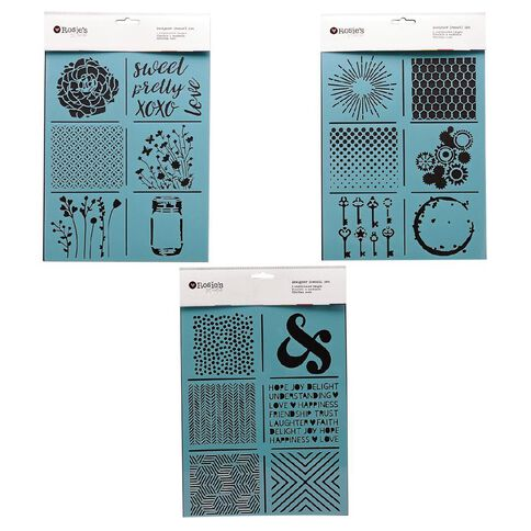 Rosie's Studio Coordinated Stencil Set Assorted 6 Pack